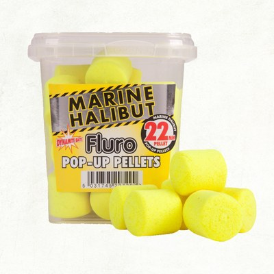 Dynamite Baits Yellow Marine Halibut Fluro Pop-Up Pellets 22mm