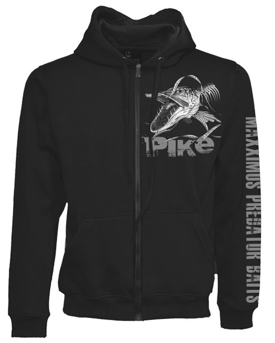 Fladen - Maxximus Angry Skeleton Pike Zip Hoody - Black - Fishing Clothing