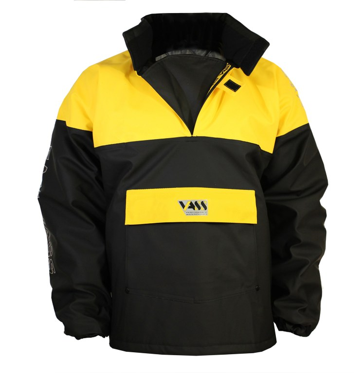Team Vass 350 Winter Smock- yellow-black - Extreme Sea fishing - Waterproof non breathable FRONT VIEW.1mb.jpg